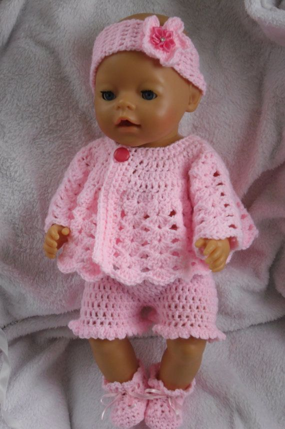 Crochet Pattern For Doll Clothes : Crochet pattern for 17 inch baby doll The outfit, Yarns ...
