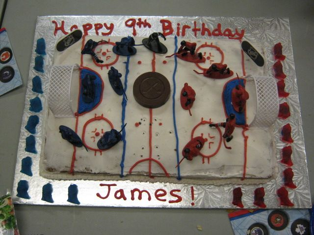Hockey rink cake. Figures from Master Mind Toys, gummy ...
