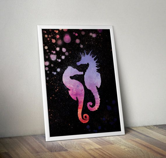 Seahorses in blue orange and purple hues on black background- decorative digital printable wall art - ready to frame  This is a digital file that