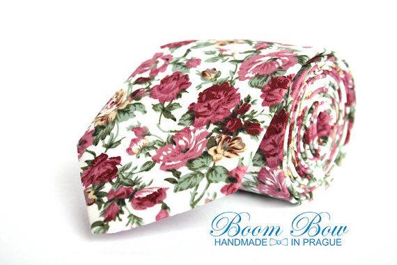 Mens Ties Floral Handmade Cotton Men's necktie by BoomBowTie
