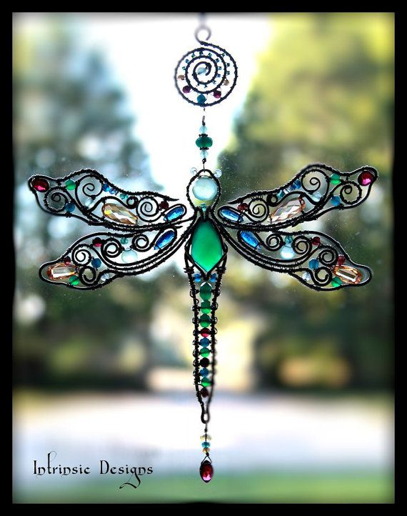 Wire Wrapped Dragonfly Multi Gemstone Cubic Zirconia by CathyHeery