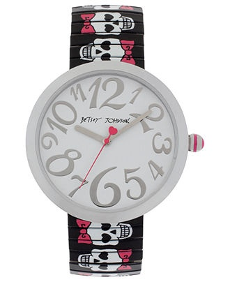 Betsey Johnson WatchBlack Prints, Band Watches, Prints Skull, Expan Bracelets, Expan Band, Johnson Watches, Women Black, Skull Expan, Betsey Johnson