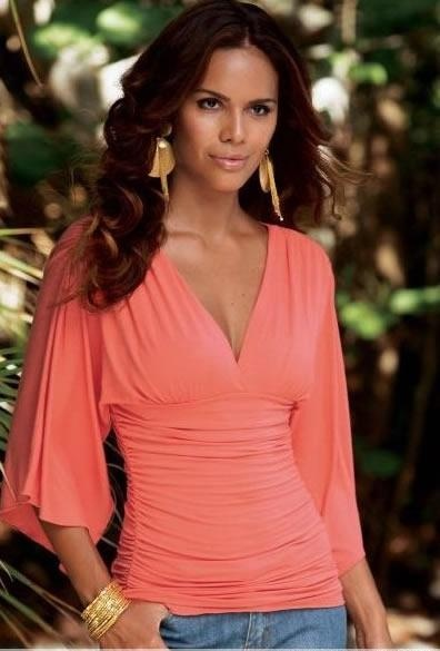 Low coral v-neck, and draped sleeves #bspr