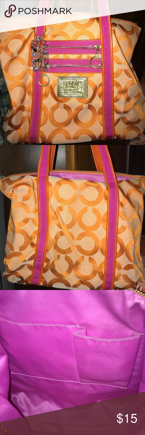 Coach Tote Orange & Pink Coach tote orange & pink. In good condition! Perfect summer bag for the beach. Coach Bags Totes