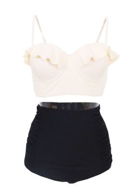 Plus Size Black & Cream High Waist Bikini Set    http://capemaycurves.com/shop/plus-size-black-cream-high-waist-bikini-set/