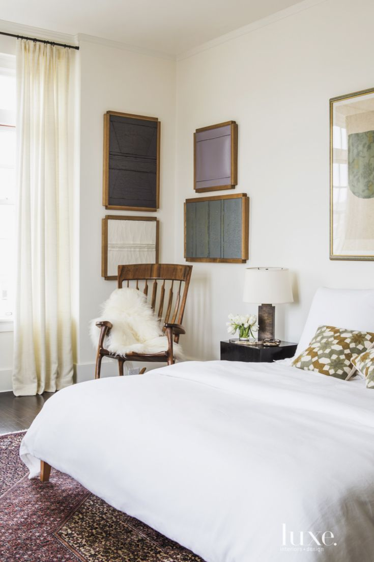 Transitional White Master Bedroom with Gallery Wall