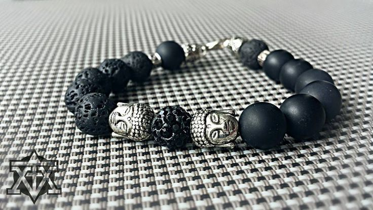 "Double Buddha Bracelet ""All Black"" by FXMX Empire - 10mm matte black Onyx and Lavastone"