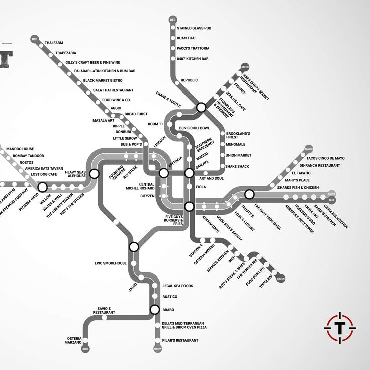 Restaurant map of Washington DC - restaurants near every metro stop. Next stop, all the food!