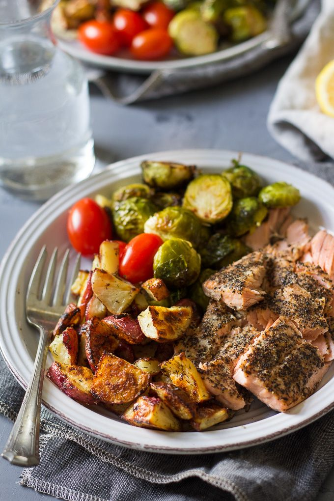 EASY SALMON WITH CRISPY LEMON DILL POTATOES AND BRUSSELS SPROUTS