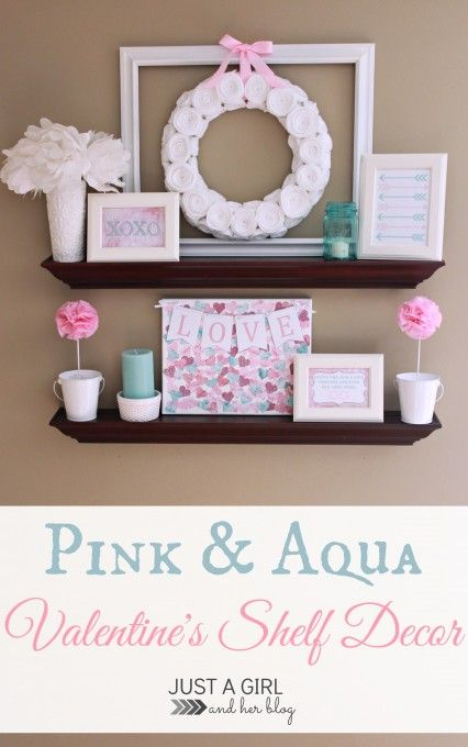 Beautiful pink and aqua shelf decor by Just a Girl and Her Blog-- made with things she already had in her house!