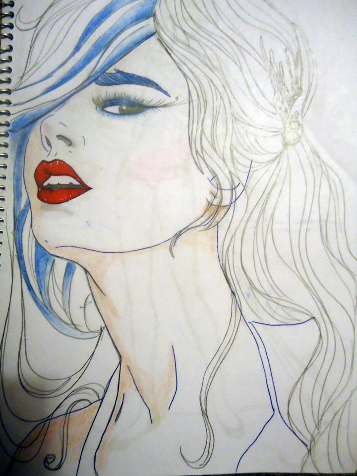 """Sketch """"Blue hair"""" by Moma"""