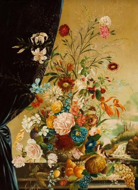 Still-life with flowers, bird and ruins Oil on canvas  Signed 105x75 cm Josef Lauer (Áustria, 1818-1881)  - Veritas Art Auctioneers - 22/02/2017