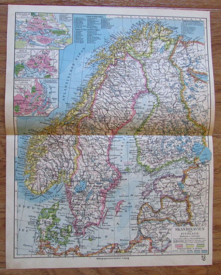 Skandinavien und Finnland Scandinavia - alte Landkarte Karte old map 1928