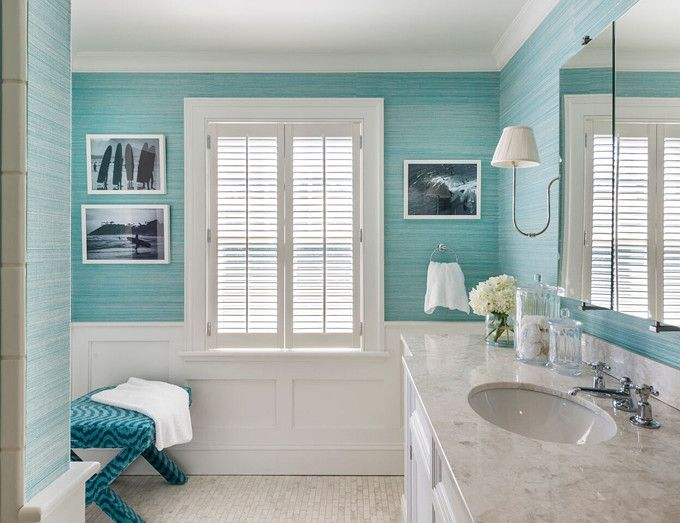 Turquoise Grasscloth Wallpaper in bathroom.  Kate Jackson Design.