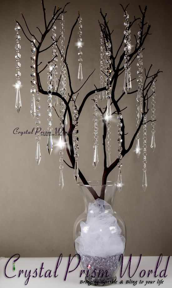 Wedding Centerpiece with Hanging Icicle Crystals & Prisms.