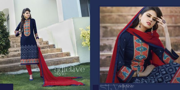 Classy Nevy Blue and Red Designer Salwar Kameez. Enhance your classy look by adorn this Cotton & Chiffon Salwar Kameez with Embroidered work. As shown as bottom and dupatta come with. #wholesaleclothing, #wholesalesellers, #wholesalesalwarsuits, #designersalwarsuits