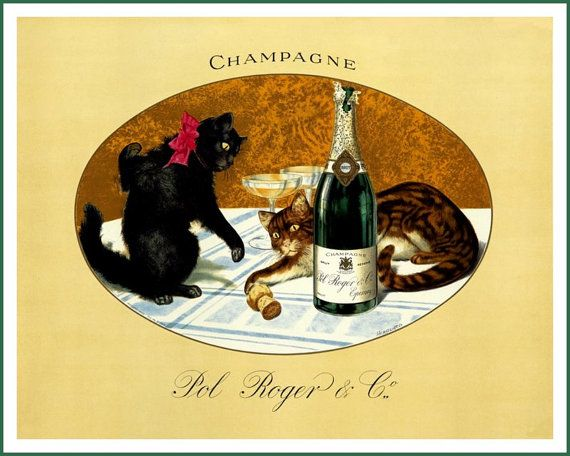 Cats Pol Roger Champagne Ad  1900  Print by BloominLuvly on Etsy