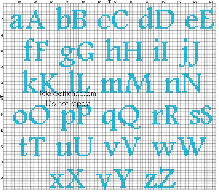 Cross stitch baby light blue alphabet Footlight MT Light size 20 color DMC 996 - free cross stitch patterns by Alex