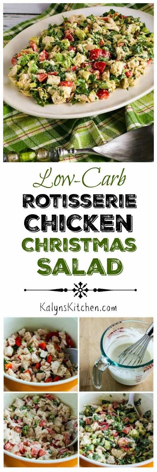 Low-Carb Rotisserie Chicken Christmas Salad Recipe with Avocado, Red Pepper, and Lime; this easy recipe is also gluten-free, dairy-free, and can easily be Paleo if you use approved mayo. And it's a refreshing change when you've had enough holiday sweets!  [KalynsKitchen.com]
