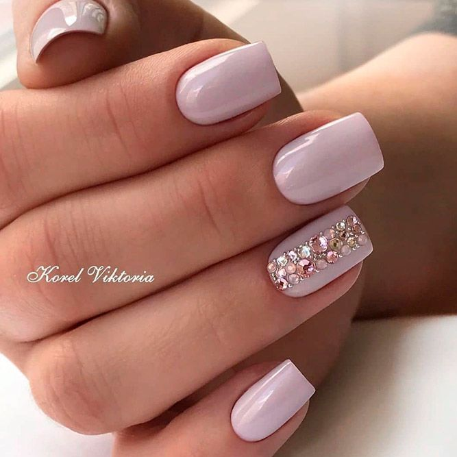 39 Exquisite Ideas Of Wedding Nails For Elegant Brides Lilac Nails Pink Manicure Rhinestone Nails