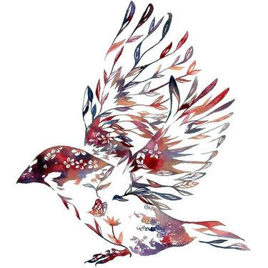 Nature Sparrow Tattoo Design