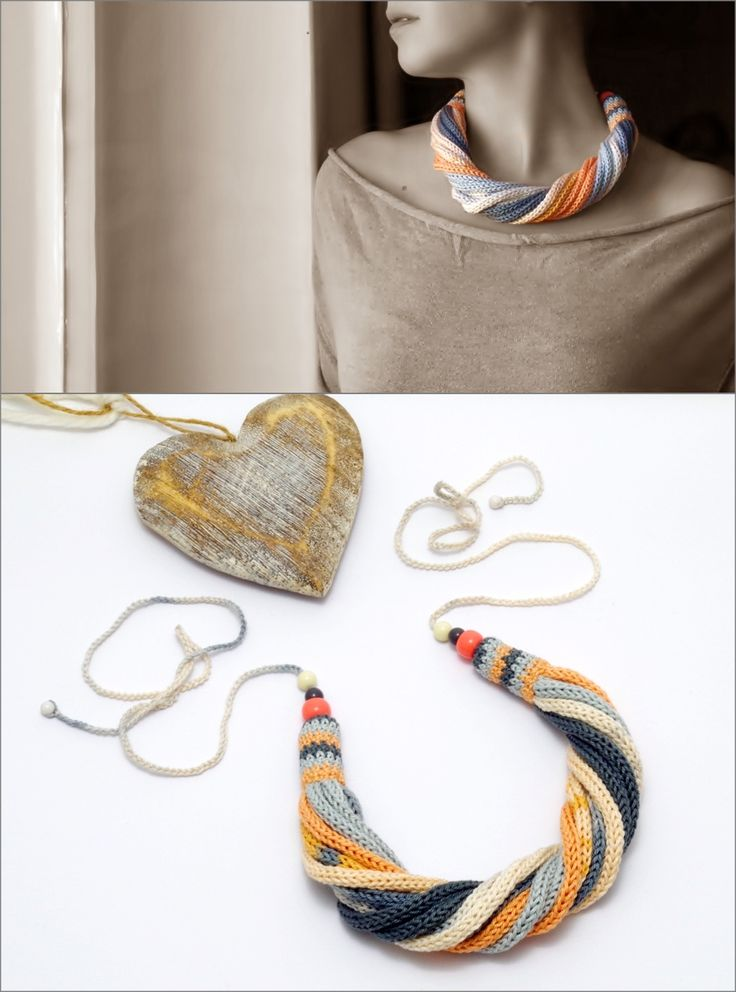 kötött - csavart nyaklánc pasztell színekben / knitted - twisted necklace in pastel colors #knitted #twisted #necklace #pastel