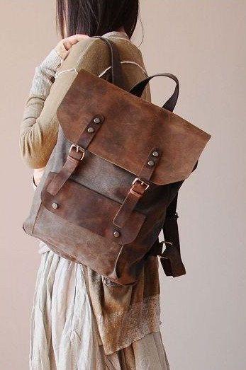 Coffee Leather-canvas backpack /Leather bag/Canvas bag /Shopping bag/ Stitch bag/Shoulder bag/iPad bag/Schoolbag/ Satchel. $85.00, via Etsy.