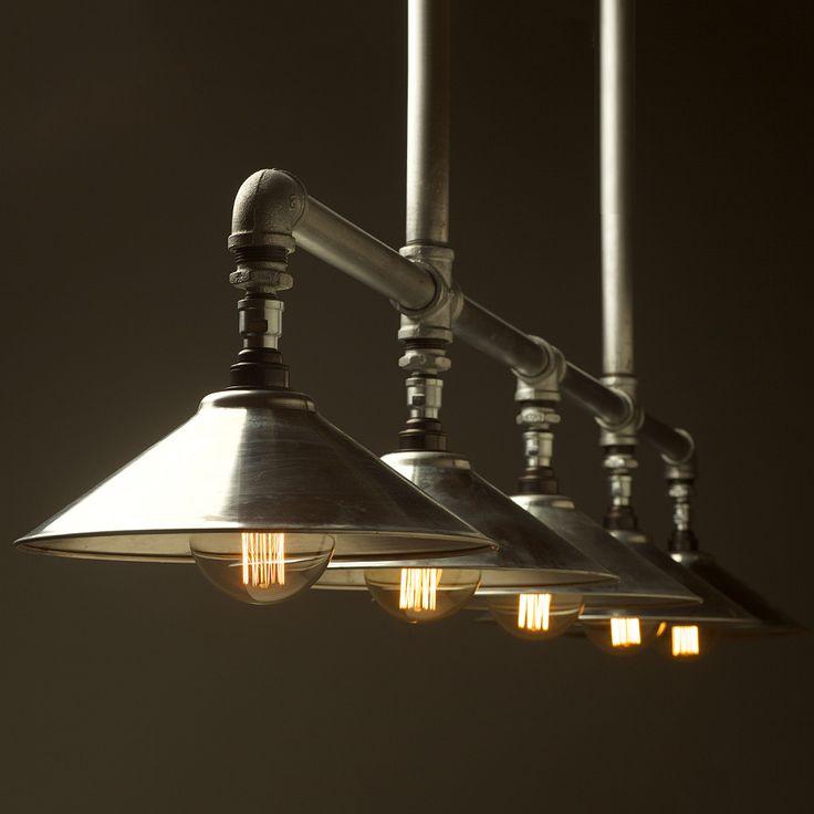Five Lamp Plumbing Pipe Billiard Table Light Galvanised