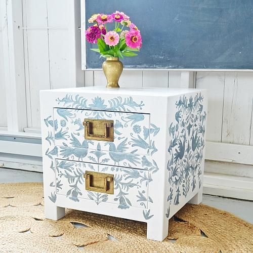 Create this project with Americana Decor® Metallics™ — Customize an old nightstand with this lovely Otomi style pattern.