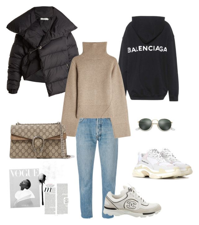 """Lyx"" by victoria-191 on Polyvore featuring RE/DONE, Balenciaga, Ray-Ban, Chanel, Marques'Almeida, Khaite and Gucci"