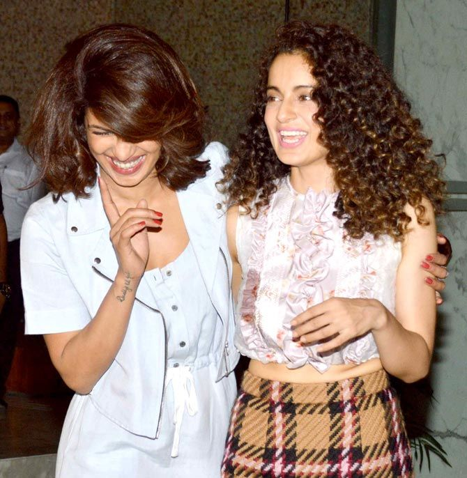 Priyanka Chopra and Kangana Ranaut shared a good camaraderie at the National Awards winning success bash. #Bollywood #Fashion #Style #Beauty