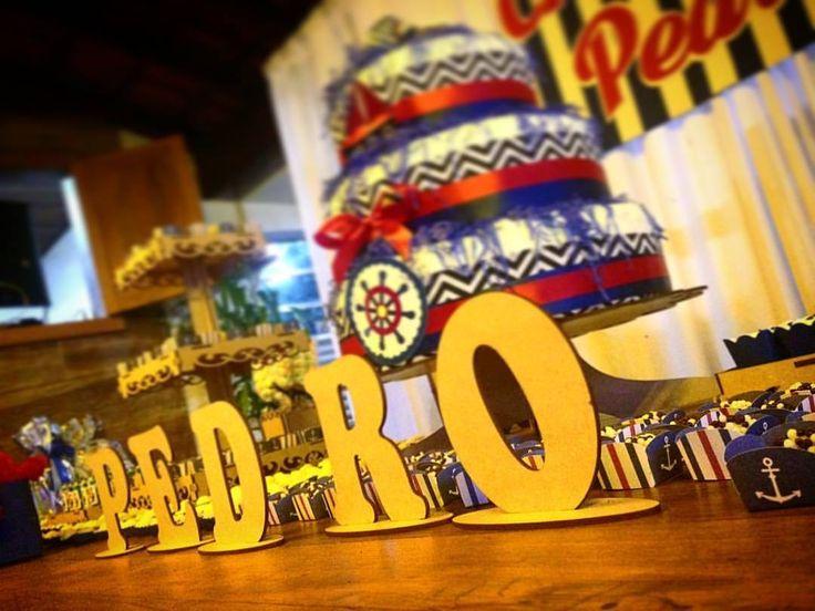 Festa tema Marinheiro, bolo de fralda.