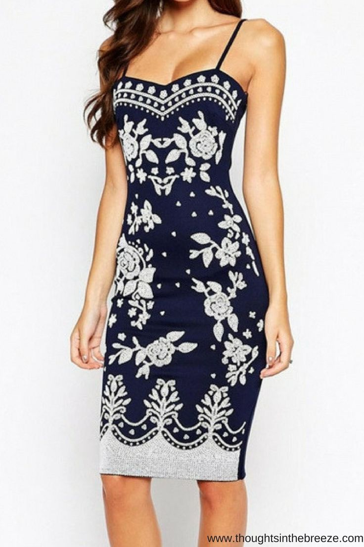 $23.99 the ultimate Navy Spaghetti Straps Floral Print Midi Dress. The edge of the cami slip dress features elastic shoulder straps, sweetheart neckline, contrast print on the front against the navy background,   #purseuepretty, #thatsdarling, #dresses #fashionposts #brand #stylish #looks #fashionstatement #fashionweek #fashionnow #fashionforeveryone, #dressadict #gown #fashiondress #dreamdress #couture #fashionista #dressesonline, #affiliate