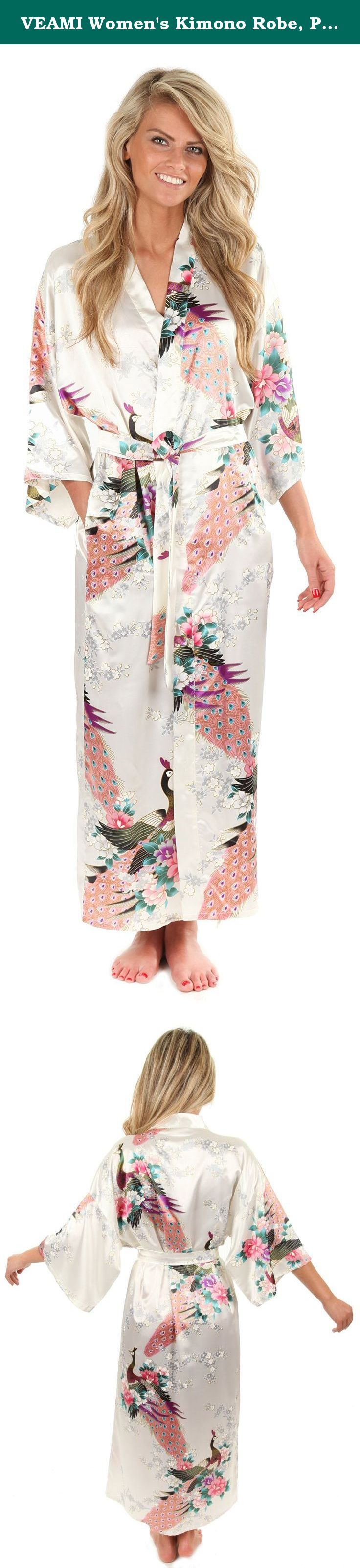 VEAMI Women's Kimono Robe, Peacock Design-White Seagull-X-Small, Long. This elegant kimono robe, available in multiple colors, can be described as a perfect combination of magnificence and classiness. Silky feel and look of Polyester fabric make the robe look rich, smooth and lustrous.