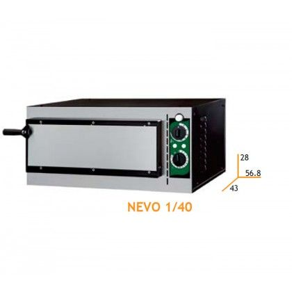 Hornos Pizza Serie Nevo 40 Adler, fabricados en acero inoxidable, Hornos electricos con superficie de cocción de ladrillos refractarios, incluye aislamientos de lana de roca evaporada