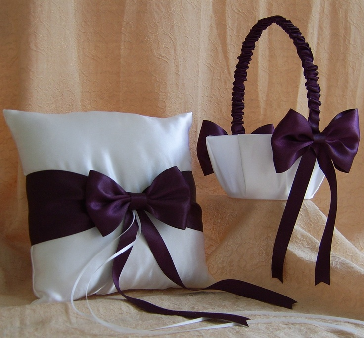 Eggplant Wedding Colors, Flower Girl Basket and Ring Bearer Pillow Set..via Etsy.