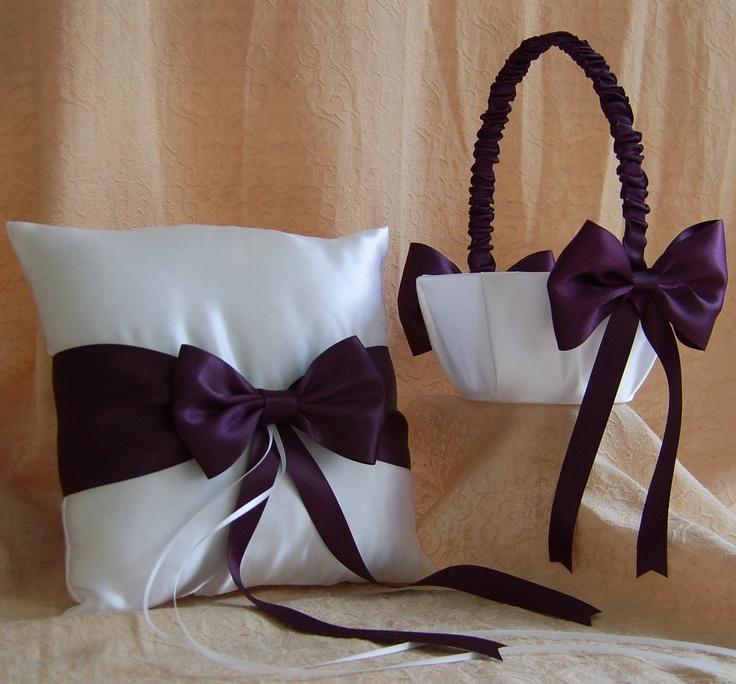 Eggplant Wedding Colors, Flower Girl Basket and Ring Bearer Pillow Set