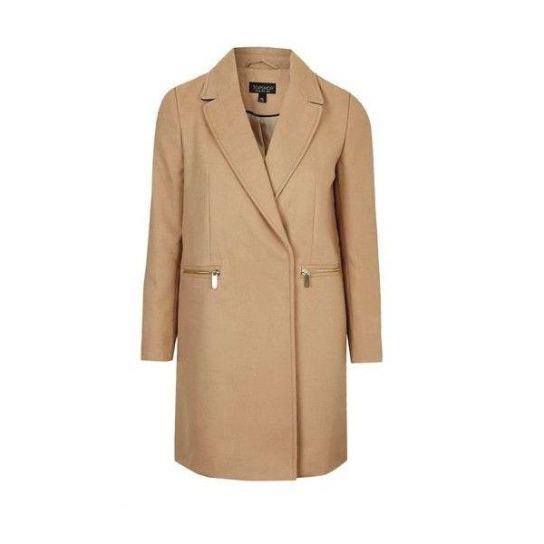 TopShop Slim Fit Boyfriend Coat ($77) ❤ liked on Polyvore featuring outerwear, coats, camel, topshop coat, topshop, camel coat, camel boyfriend coat and beige coat