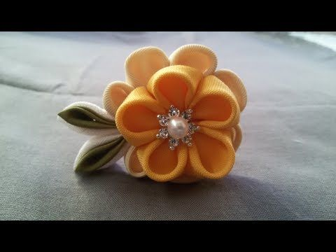 DIY How to make a Fabric Flower Hair Pin - YouTube
