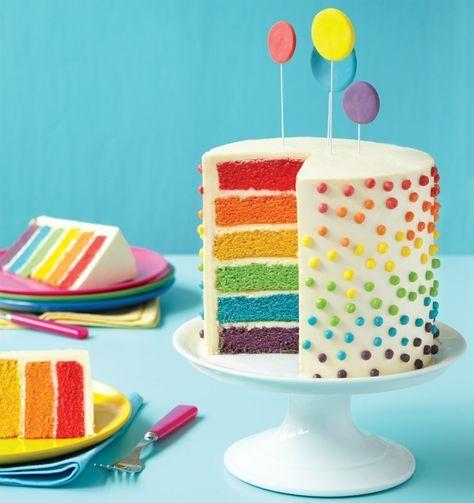 Regenbogenkuchen Rezept mit und ohne Smarties zum Nachbacken