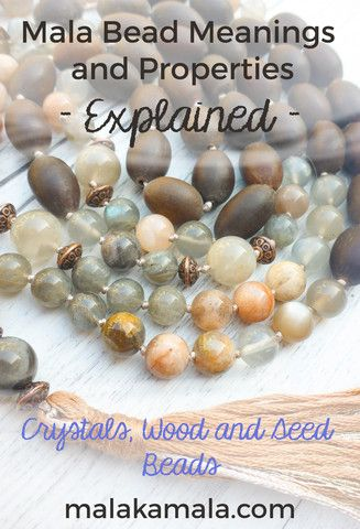 Pin for later! Get to know what each wooden, seed and crystal bead means and what it can manifest for you.  Crystal Meanings - Mala Kamala Mala Beads - Boho Malas, Mala Beads, Yoga Jewelry, Meditation Jewelry, Mala Necklaces and Bracelets, Childrens Malas, Bohemian Jewelry and Baby Necklaces