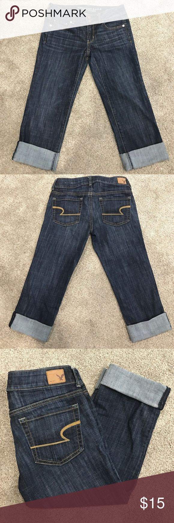 American eagle outfitters jean capris size 2 Gently worn American eagle outfitters jean capris, size 2. Artist crop stretch. American Eagle Outfitters Jeans