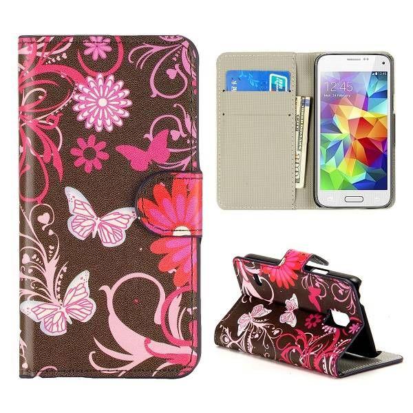 Roze vlinders booktype voor Samsung Galaxy S5 mini
