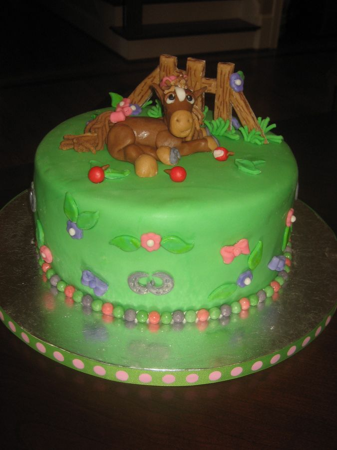"""Birthday cake for 4 year old girl with """"horse themed"""" party at a horse riding stable.  Everything is mmf.  Cake was inspired by a book!"""