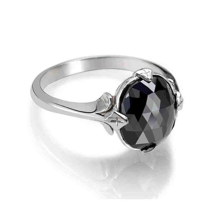 Simple Black Diamond Engagement Rings