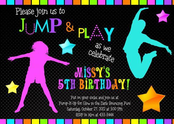 jump invitation  neon bounce house invitation  trampoline