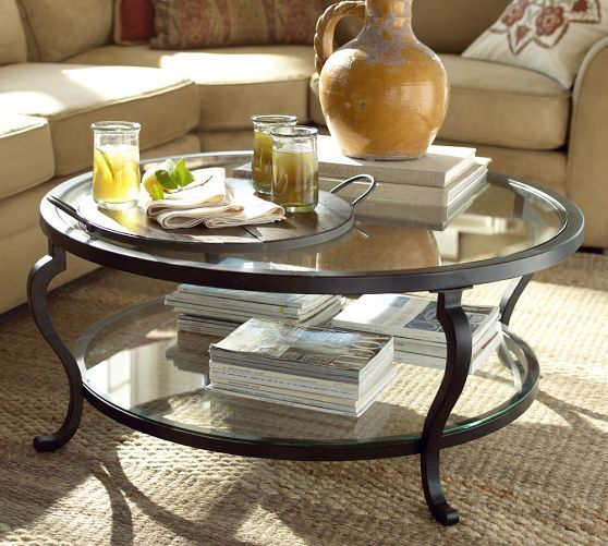 Lena MirroredTop Coffee Table Mirrored Coffee Tables Living - Pottery barn glass side table