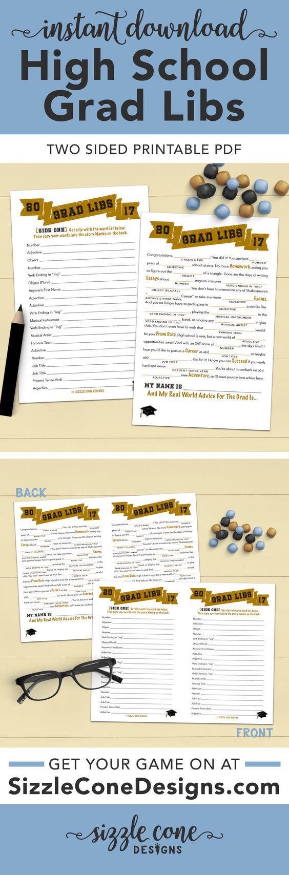 Grad Libs High School Graduation Game - Printable [#400]