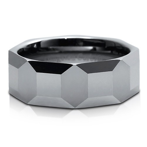 Multi Faceted Polished Tungsten Carbide Mens Ring Band Comfort Fit 8mm