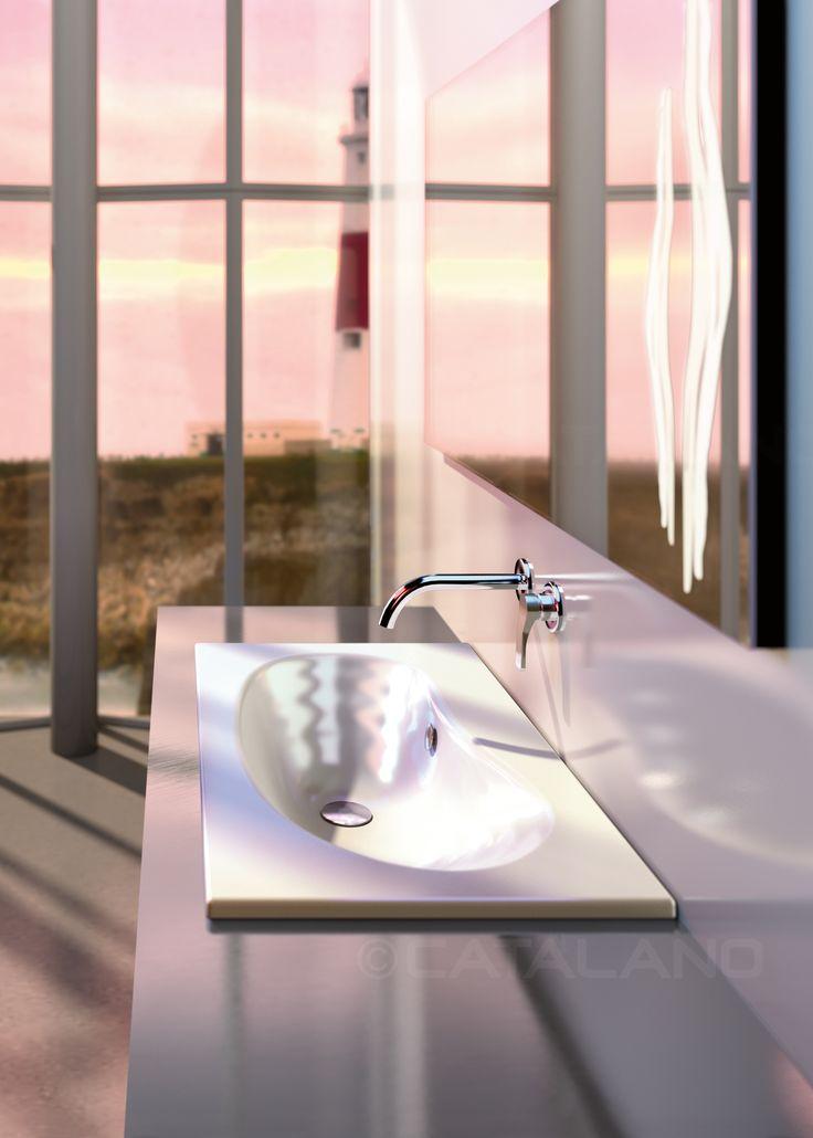 IMPRONTA 83x48 BY DORIANA E MASSIMILIANO FUKSAS  Il lavabo ad incasso, predisposto per rubinetteria monoforo, triforo o da parete, trasferisce l'inconfondibile morbidezza della collezione su dimensioni più ridotte. Nel catalogo INOVA sono disponibili due specchi retroilluminati e mensole specifiche in finitura inox e rovere.